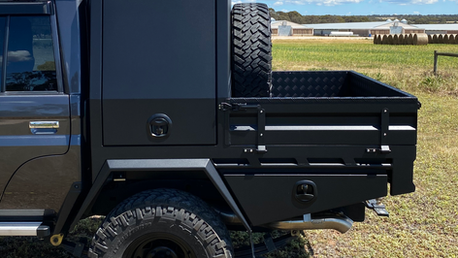 Chassis Mount Canopy and Tool boxes coated with Shingleback Coating system. Colour - Gurhka strike sand.