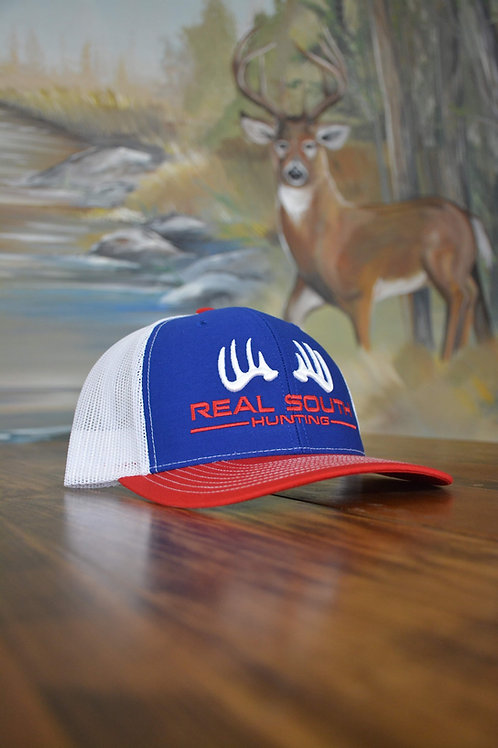 3D Royal/White/Red Snapback with Red/White Logo