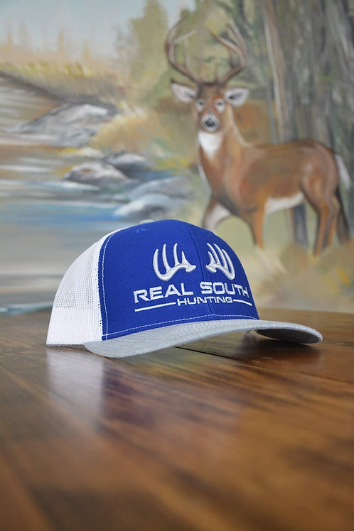3D Royal/White/Heather Grey Snapback with Silver Logo