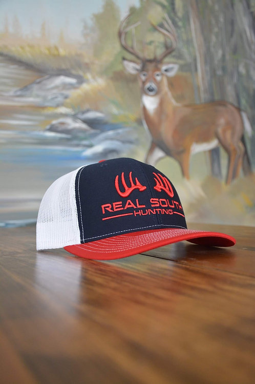 3D Navy/White/Red Snapback with Red Logo