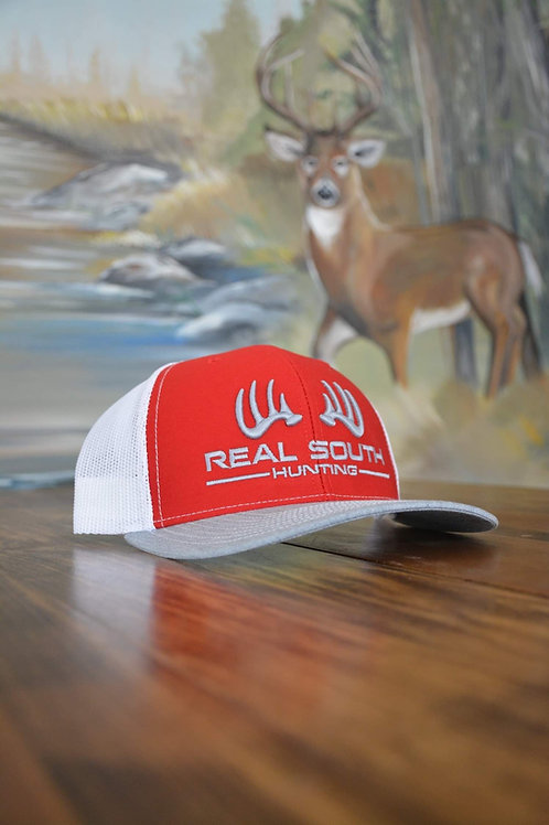 Red/White/Heather Grey Snapback with Silver Logo