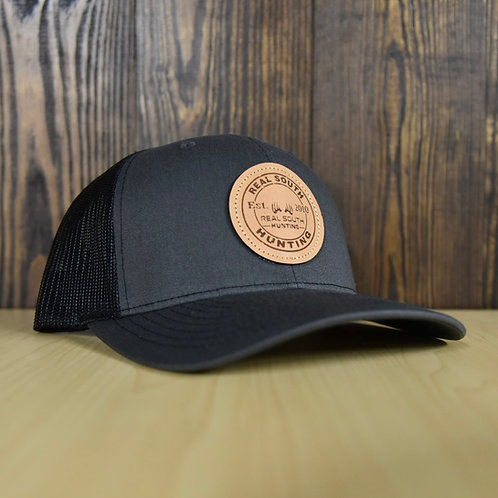 Charcoal/Black Snapback with Leather Patch