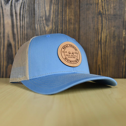 Columbia Blue/Khaki Snapback with Leather Patch