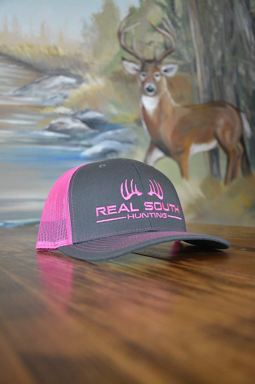 Charcoal/Neon Pink Snapback with Neon Pink Logo
