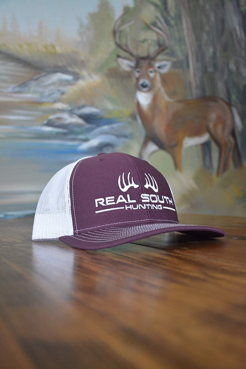 Maroon/White Snapback with White Logo