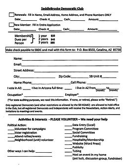 Saddlebrooke Democratic Club Application