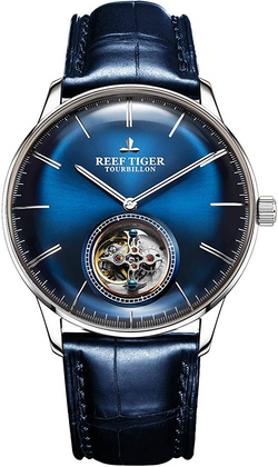 Reef Tiger Blue Tourbillon Watch Leather