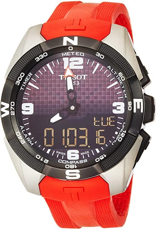 TISSOT - Montre Homme Tissot T-Touch Expert Solar T0914204705700 Bracelet Silicone Rouge - T09142047