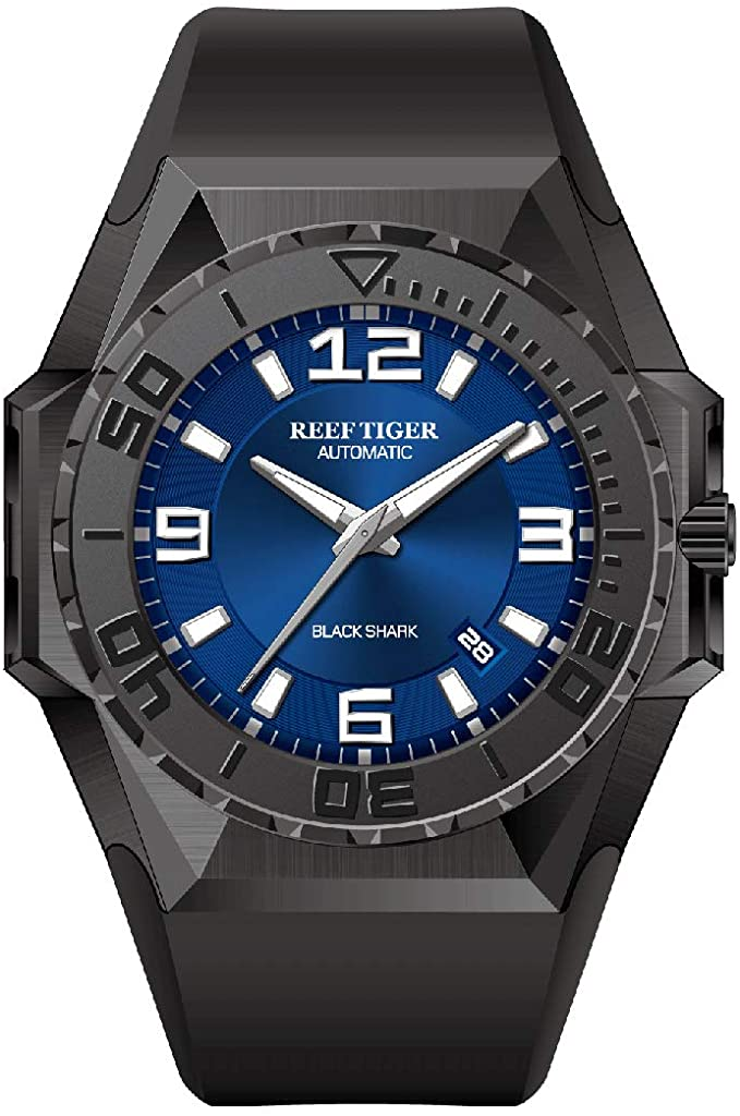 Reef Tiger/RT Top Militare Watches Blue Dial All Black Steel Automatic Mens
