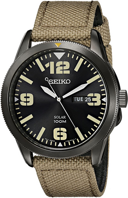 Seiko Men's SNE331 Sport Solar Black Sta