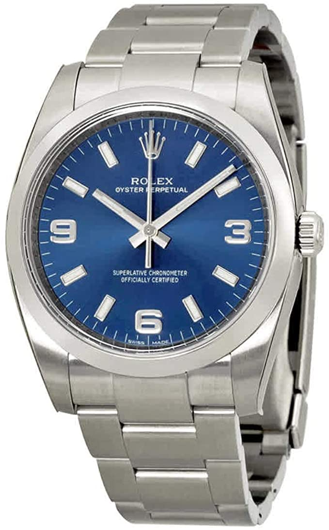 Rolex Airking Blue Arabic Dial Domed Bez