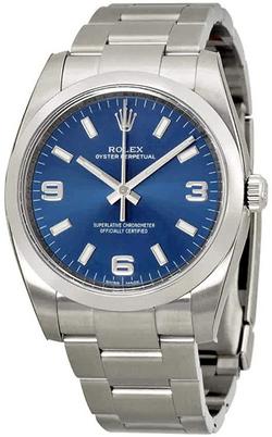 Rolex Airking Blue Arabic Dial Domed Bez