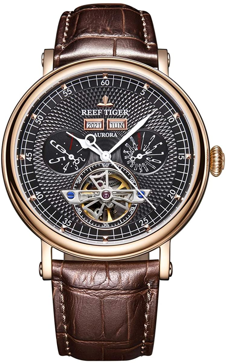 Reef Tiger Top Brand Luxury Watch Multifunction Automatic Watches Mens