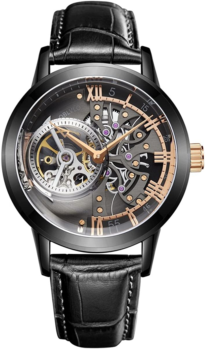 OBLVLO Luxury Skeleton Watches for Men Genuine Leather Strap Tourbillon Watches VM-1