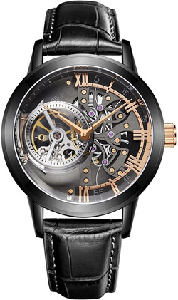 OBLVLO Luxury Skeleton Watches for Men Genuine Leather Strap Tourbillon Watches VM-1