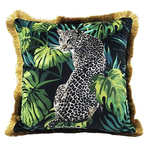 Jaguar Velvet Cushion Cover