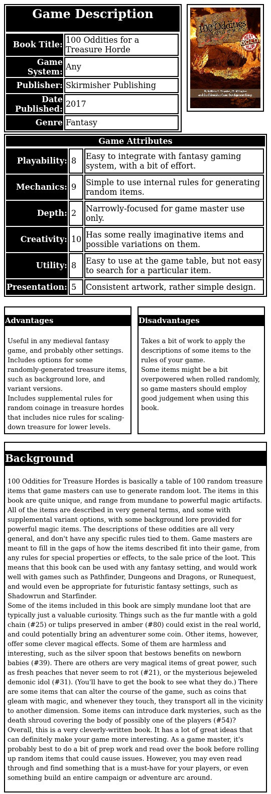 100 Oddities for Treasure Hordes is basically a table of 100 random treasure items that game masters can use to generate random loot. The items in this book are quite unique, and range from mundane to powerful magic artifacts. All of the items are described in very general terms, and some with supplemental variant options, with some background lore provided for powerful magic items. The descriptions of these oddities are all very general, and don't have any specific rules tied to them. Game masters are meant to fill in the gaps of how the items described fit into their game, from any rules for special properties or effects, to the sale price of the loot. This means that this book can be used with any fantasy setting, and would work well with games such as Pathfinder, Dungeons and Dragons, or Runequest, and would even be appropriate for futuristic fantasy settings, such as Shadowrun and Starfinder. Some of the items included in this book are simply mundane loot that are typically just a valuable curiosity. Things such as the fur mantle with a gold chain (#25) or tulips preserved in amber (#80) could exist in the real world, and could potentially bring an adventurer some coin. Other items, however, offer some clever magical effects. Some of them are harmless and interesting, such as the silver spoon that bestows benefits on newborn babies (#39). There are others are very magical items of great power, such as fresh peaches that never seem to rot (#21), or the mysterious bejeweled demonic idol (#31). (You'll have to get the book to see what they do.) There are some items that can alter the course of the game, such as coins that gleam with magic, and whenever they touch, they transport all in the vicinity to another dimension. Some items can introduce dark mysteries, such as the death shroud covering the body of possibly one of the players (#54)?  Overall, this is a very cleverly-written book. It has a lot of great ideas that can definitely make your game more interestin