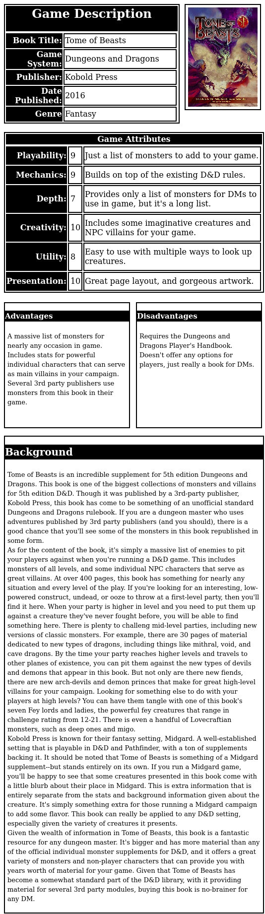Tome of Beasts is an incredible supplement for 5th edition Dungeons and Dragons. This book is one of the biggest collections of monsters and villains for 5th edition D&D. Though it was published by a 3rd-party publisher, Kobold Press, this book has come to be something of an unofficial standard Dungeons and Dragons rulebook. If you are a dungeon master who uses adventures published by 3rd party publishers (and you should), there is a good chance that you'll see some of the monsters in this book republished in some form.  As for the content of the book, it's simply a massive list of enemies to pit your players against when you're running a D&D game. This includes monsters of all levels, and some individual NPC characters that serve as great villains. At over 400 pages, this book has something for nearly any situation and every level of the play. If you're looking for an interesting, low-powered construct, undead, or ooze to throw at a first-level party, then you'll find it here. When your party is higher in level and you need to put them up against a creature they've never fought before, you will be able to find something here. There is plenty to challeng mid-level parties, including new versions of classic monsters. For example, there are 30 pages of material dedicated to new types of dragons, including things like mithral, void, and cave dragons. By the time your party reaches higher levels and travels to other planes of existence, you can pit them against the new types of devils and demons that appear in this book. But not only are there new fiends, there are new arch-devils and demon princes that make for great high-level villains for your campaign. Looking for something else to do with your players at high levels? You can have them tangle with one of this book's seven Fey lords and ladies, the powerful fey creatures that range in challenge rating from 12-21. There is even a handful of Lovecraftian monsters, such as deep ones and migo.  Kobold Press is known for their fantasy setting, Midgard. A well-established setting that is playable in D&D and Pathfinder, with a ton of supplements backing it. It should be noted that Tome of Beasts is something of a Midgard supplement--but stands entirely on its own. If you run a Midgard game, you'll be happy to see that some creatures presented in this book come with a little blurb about their place in Midgard. This is extra information that is entirely separate from the stats and background information given about the creature. It's simply something extra for those running a Midgard campaign to add some flavor. This book can really be applied to any D&D setting, especially given the variety of creatures it presents.  Given the wealth of information in Tome of Beasts, this book is a fantastic resource for any dungeon master. It's bigger and has more material than any of the official individual monster supplements for D&D, and it offers a great variety of monsters and non-player characters that can provide you with years worth of material for your game. Given that Tome of Beasts has become a somewhat standard part of the D&D library, with it providing material for several 3rd party modules, buying this book is no-brainer for any DM.