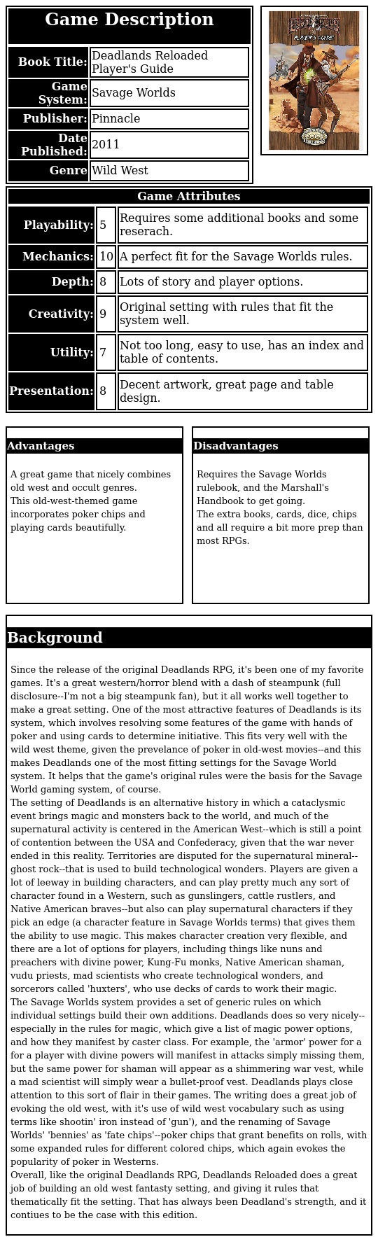 Deadlands Reloaded Players Guide Pdf