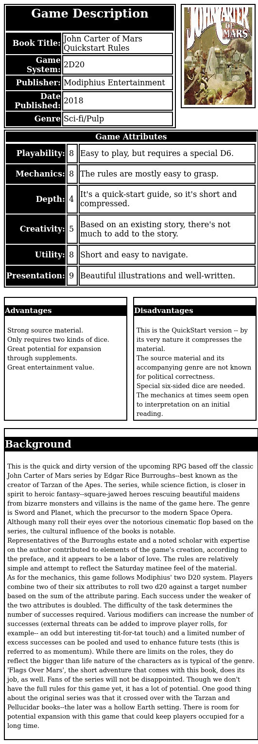 This is the quick and dirty version of the upcoming RPG based off the classic John Carter of Mars series by Edgar Rice Burroughs--best known as the creator of Tarzan of the Apes. The series, while science fiction, is closer in spirit to heroic fantasy--square-jawed heroes rescuing beautiful maidens from bizarre monsters and villains is the name of the game here. The genre is Sword and Planet, which the precursor to the modern Space Opera. Although many roll their eyes over the notorious cinematic flop based on the series, the cultural influence of the books is notable. Representatives of the Burroughs estate and a noted scholar with expertise on the author contributed to elements of the game's creation, according to the preface, and it appears to be a labor of love. The rules are relatively simple and attempt to reflect the Saturday matinee feel of the material.  As for the mechanics, this game follows Modiphius' two D20 system. Players combine two of their six attributes to roll two d20 against a target number based on the sum of the attribute paring. Each success under the weaker of the two attributes is doubled. The difficulty of the task determines the number of successes required. Various modifiers can increase the number of successes (external threats can be added to improve player rolls, for example-- an odd but interesting tit-for-tat touch) and a limited number of excess successes can be pooled and used to enhance future tests (this is referred to as momentum). While there are limits on the roles, they do reflect the bigger than life nature of the characters as is typical of the genre. 'Flags Over Mars', the short adventure that comes with this book, does its job, as well. Fans of the series will not be disappointed. Though we don't have the full rules for this game yet, it has a lot of potential. One good thing about the original series was that it crossed over with the Tarzan and Pellucidar books--the later was a hollow Earth setting. There is room for po