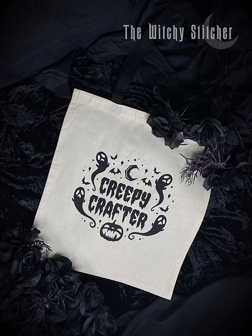 Creepy Crafter Tote Bag ~ White