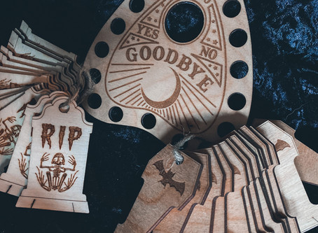 Our Spooky Wood Cuts Are Back In Stock! And there's a dead frog in the mix...
