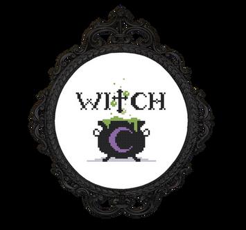 Witch Free Cross Stitch Pattern - transp