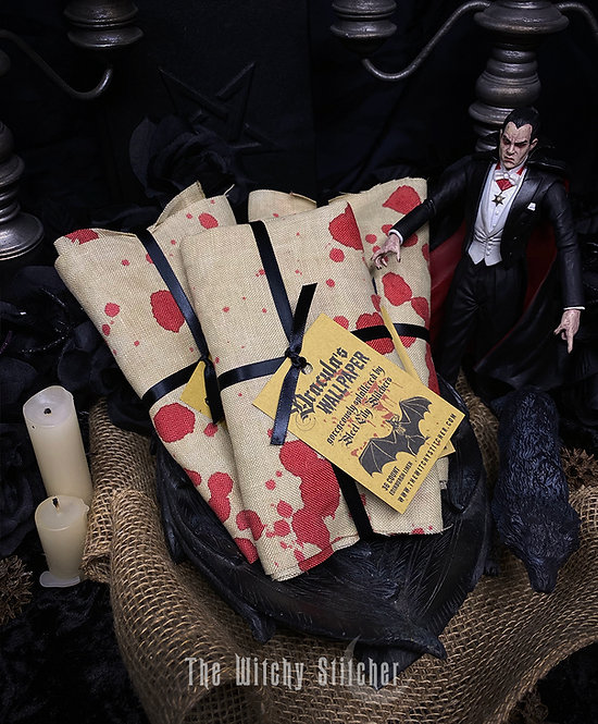 Dracula's Wallpaper ~ Blood Splatter Fabric ~ 36 ct