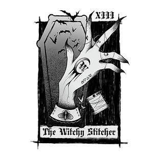The Witchy Stitcher Logo transparent whi