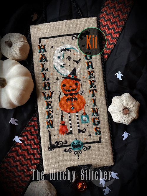 KIT ~ Vintage Pumpkin Witch ~ Halloween Greetings
