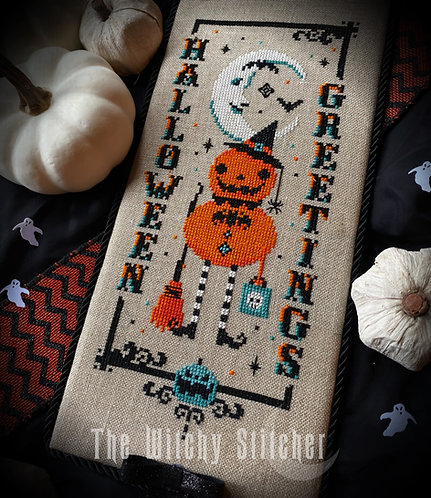 Vintage Pumpkin Witch ~ Halloween Greetings ~ PDF Pattern