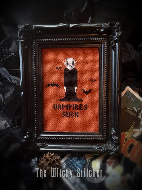 Vampires Suck ~ Finished Cross Stitch