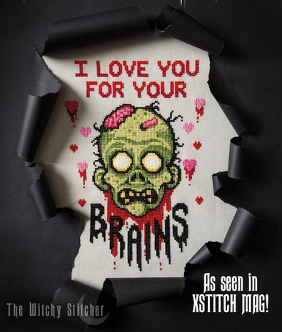 Love Brains Zombie - finished stitch 2 -