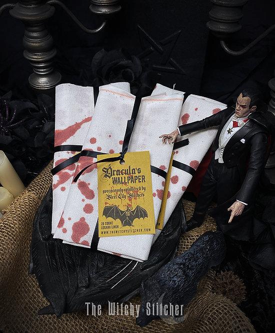 Dracula's Wallpaper ~ White Blood Splatter Fabric ~ 28 ct