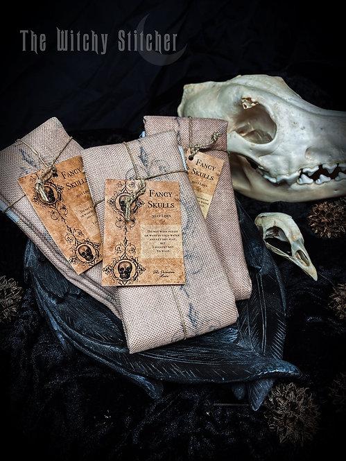 Fancy Skulls 30ct Linen ~ Hand Dyed Fabric