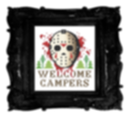 Free cross stitch pattern - Jason Voorhees, Friday The 13th, Camping, funny, modern, gothic, horror, best cross stitch, macabre, halloween, spooky