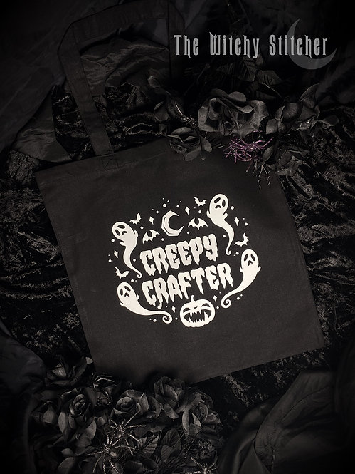 Creepy Crafter Tote Bag ~ Black
