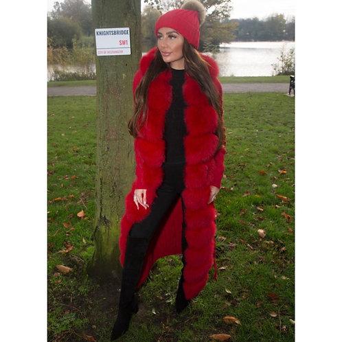 """KNIGHTSBRIDGE"" Fox Fur & Wool Cardigan"