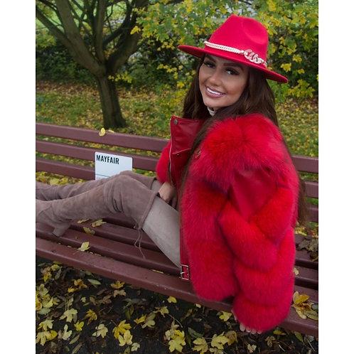 """MAYFAIR"" Fox Fur & Sheepskin Leather Coat"