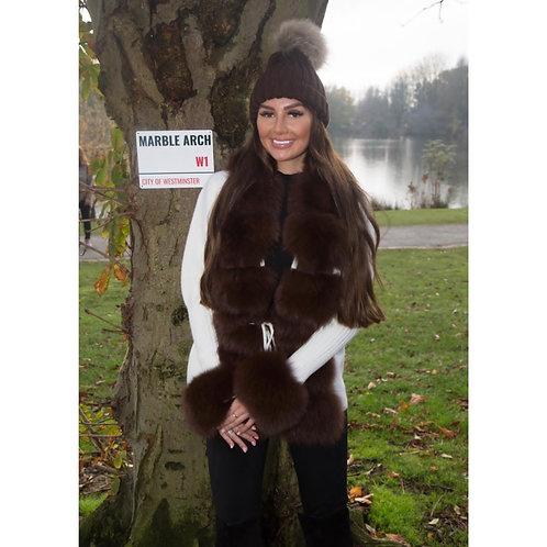 """""""MARBLE ARCH"""" Fox Fur & Wool Cardigan"""
