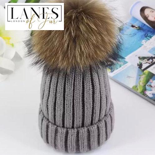 "COYA"" Raccoon Fur Beanie Hat"
