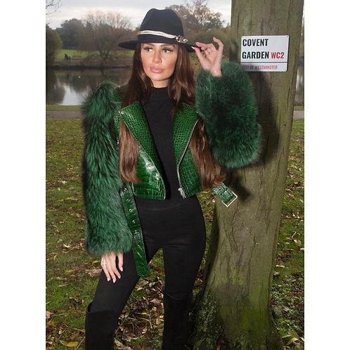 """""""COVENT GARDEN"""" Silver Fox Fur & Crocodile Leather Coat"""