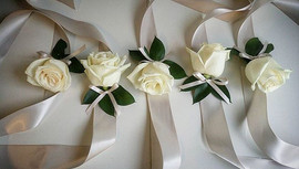 Beautiful wrist corsages for all of the