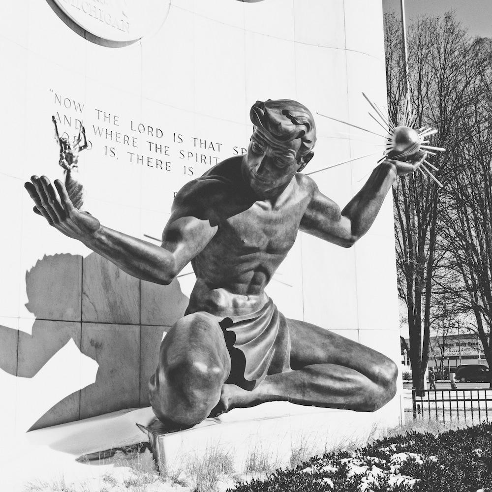 Spirit of Detroit - Black and White