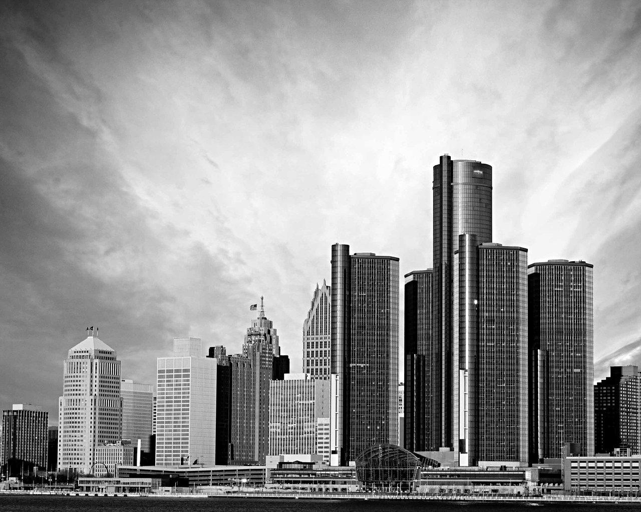 Detroit Skyline - Black and White