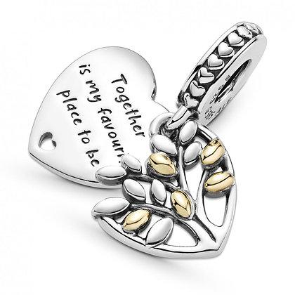 Pandora Charm Pendant Cœur Arbre Généalogique Bicolore 799161C00
