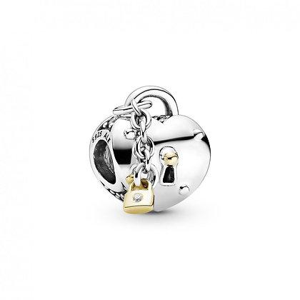 Pandora Charm Cœur et Cadenas Bicolore 799160C01