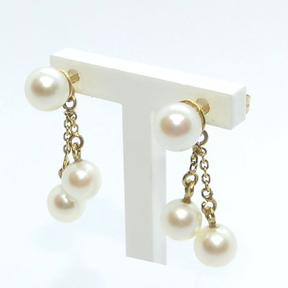 Boucles d'oreilles Or 18 Cts Perles