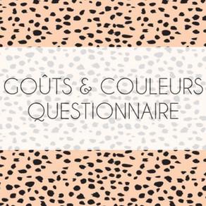 Goûts et Couleurs : questionnaire