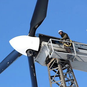 A crew member inspects turbine rotors in Kwigillingok